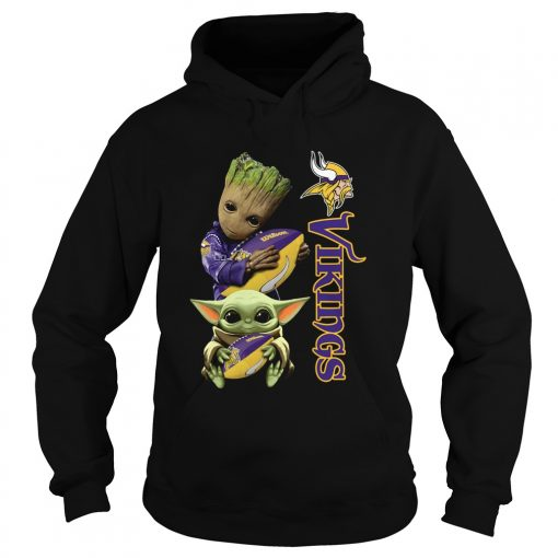 Baby Groot And Yoda Hug Minnesota Vikings  Hoodie