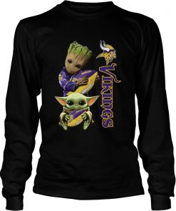 Baby Groot And Yoda Hug Minnesota Vikings  LongSleeve