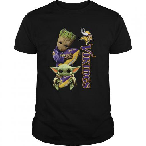 Baby Groot And Yoda Hug Minnesota Vikings  Unisex