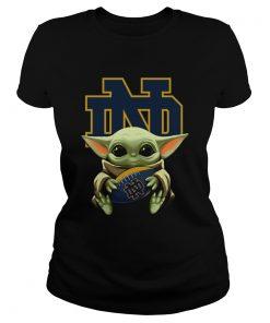Baby Yoda Hug Notre Dame  Classic Ladies