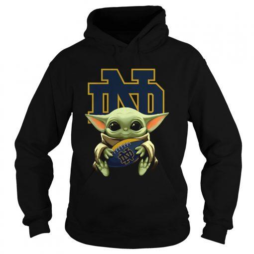 Baby Yoda Hug Notre Dame  Hoodie