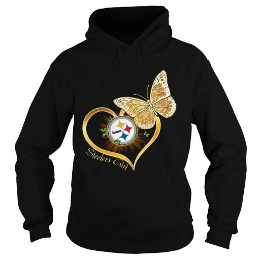 Heart Butterfly And Pittsburgh Steelers Girl  Hoodie
