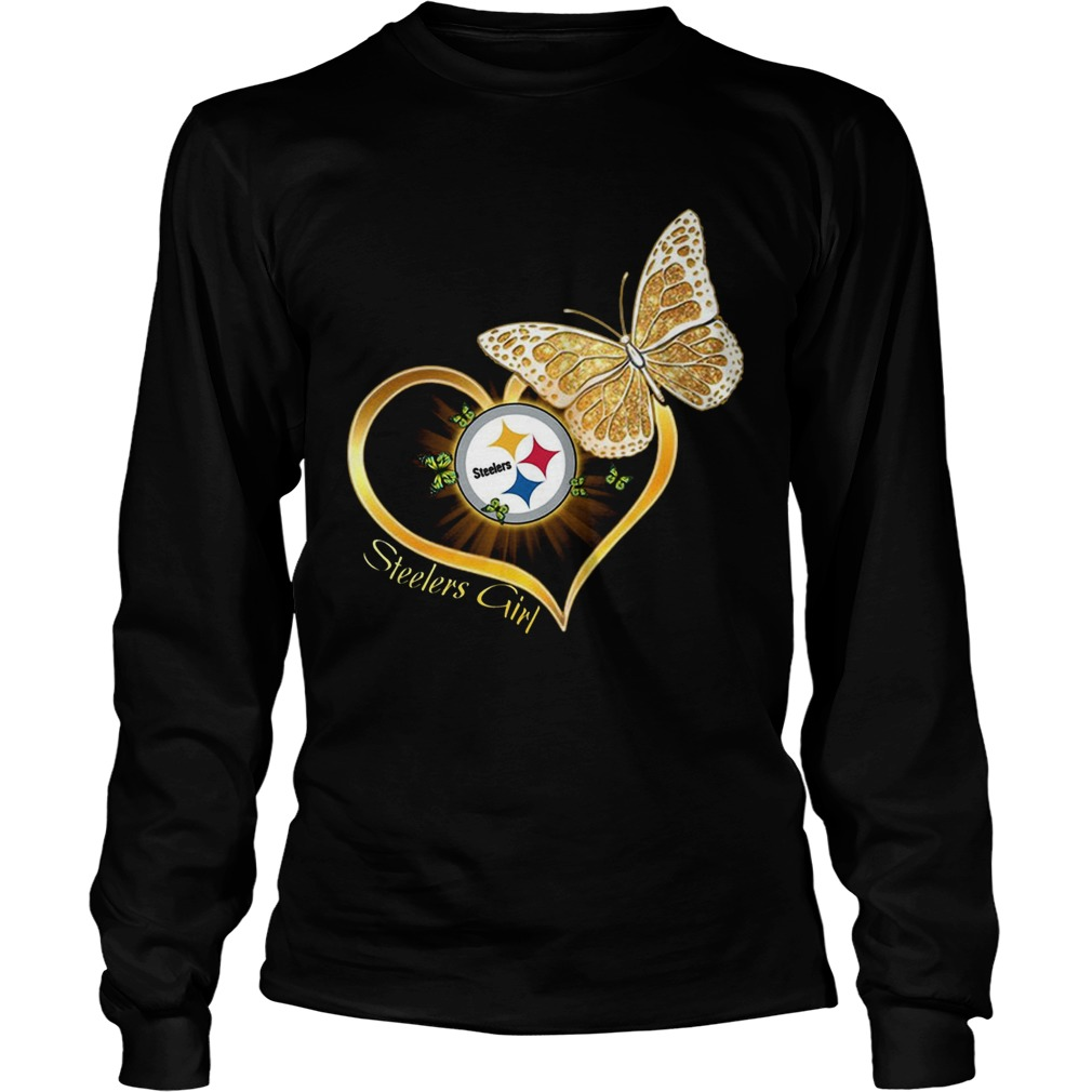 Heart Butterfly And Pittsburgh Steelers Girl LongSleeve