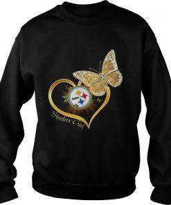 Heart Butterfly And Pittsburgh Steelers Girl  Sweatshirt