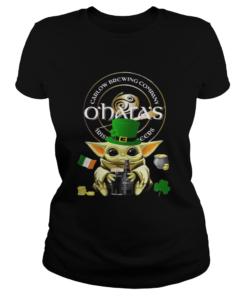 St Patricks Day Baby Yoda Hugging Oharas Irish Stout Beer  Classic Ladies