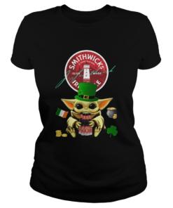 St Patricks Day Baby Yoda Hugging Smithwicks Irish Red Beer  Classic Ladies