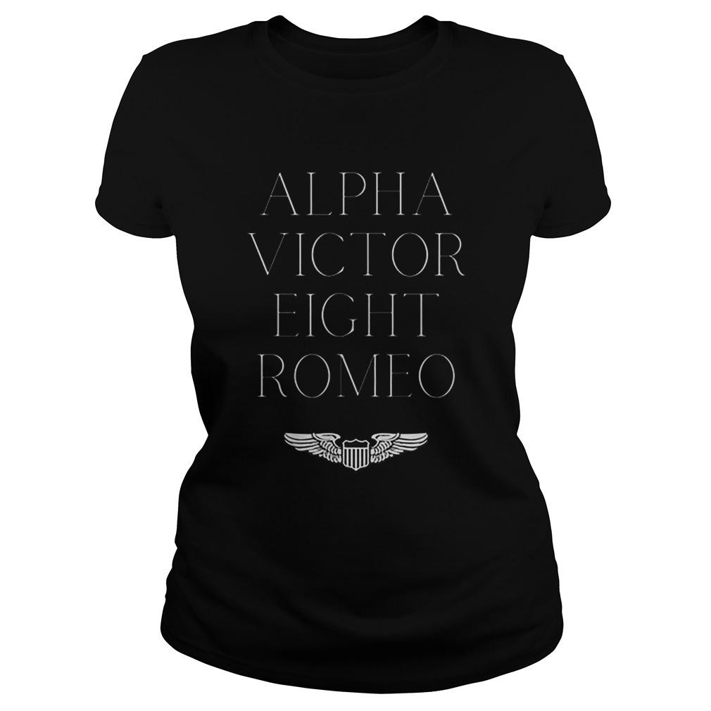 Alpha Victor Eight Romeo Pilot Plane Aviator Classic Ladies