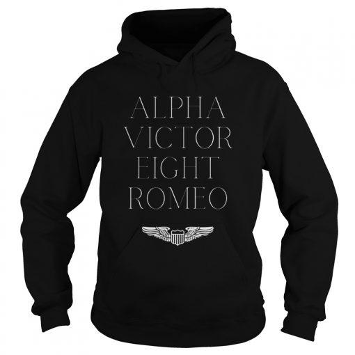Alpha Victor Eight Romeo Pilot Plane Aviator  Hoodie