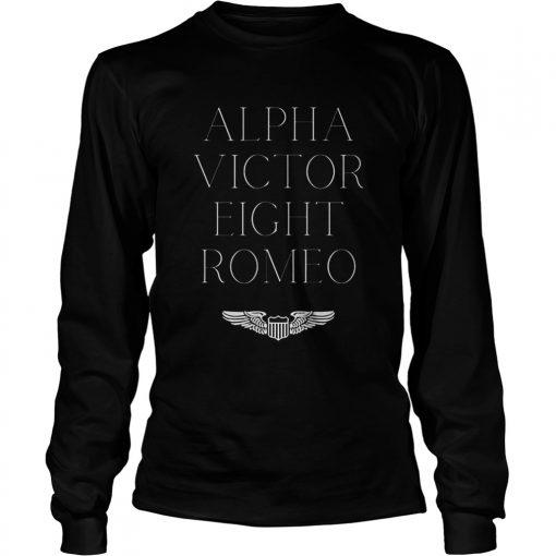 Alpha Victor Eight Romeo Pilot Plane Aviator  LongSleeve