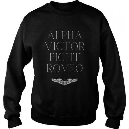 Alpha Victor Eight Romeo Pilot Plane Aviator  Sweatshirt