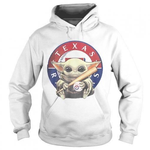 Baby Yoda Hug Texas Rangers Logo Star Wars  Hoodie
