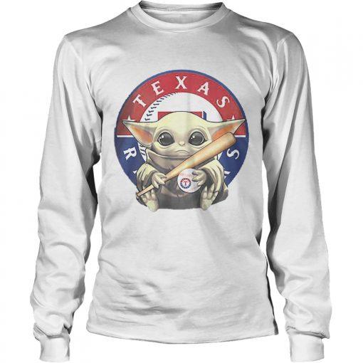 Baby Yoda Hug Texas Rangers Logo Star Wars  LongSleeve