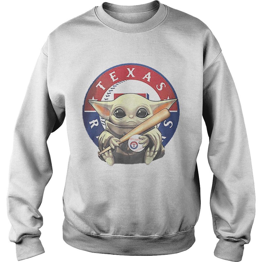 Baby Yoda Hug Texas Rangers Logo Star Wars Sweatshirt
