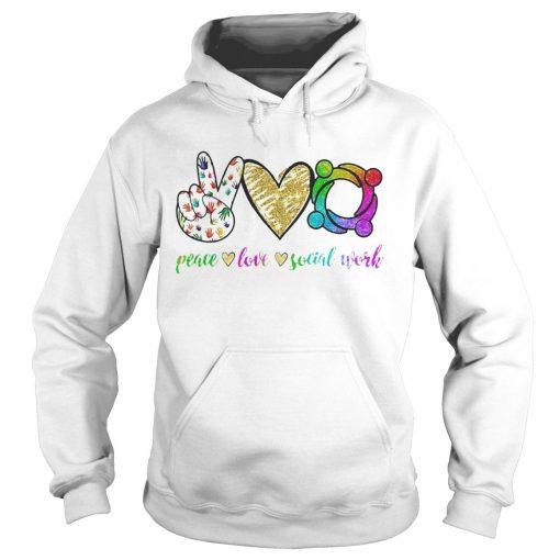 Peace love social word  Hoodie