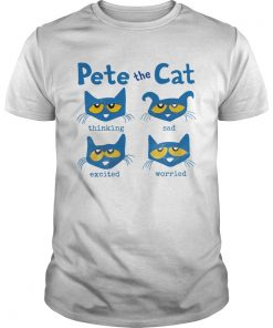 Pete The Cat Thinking Sad Excited Worried  Unisex