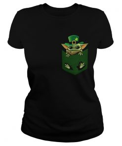 St Patricks Day Irish Baby Yoda In Pocket  Classic Ladies