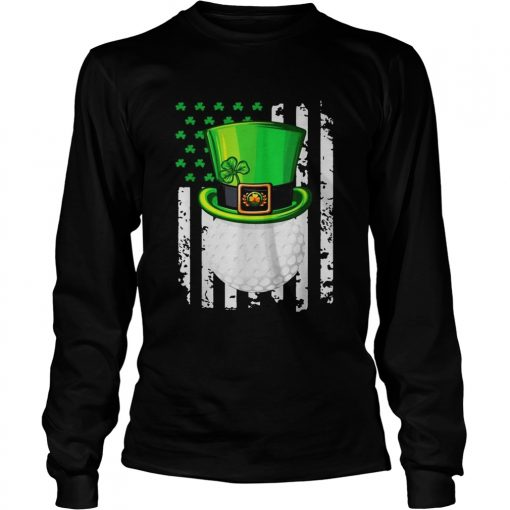 St Patricks Day Leprechaun golf and American flag  LongSleeve