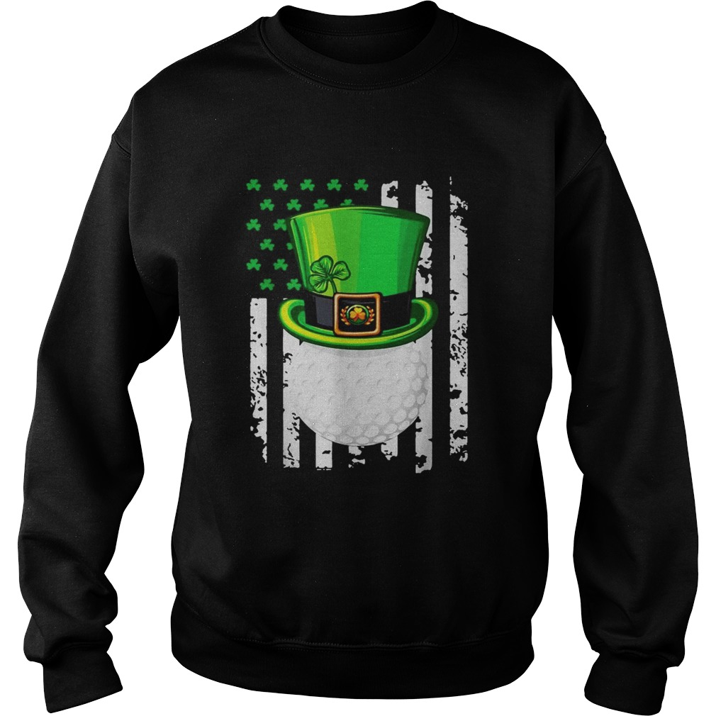 St Patricks Day Leprechaun golf and American flag Sweatshirt