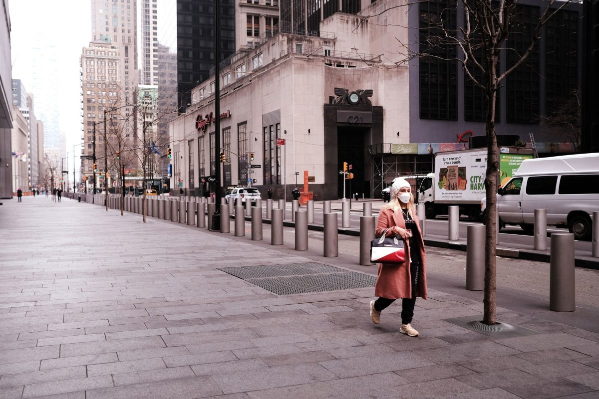 Lower Manhattan streets are all but emptied of shoppers