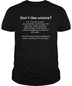 Dont Like Unions Fine Then Give Us Back Your Weekends  Unisex