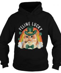 Feline Lucky St Patricks Day Funny Leprechaun Cat Rainbow  Hoodie