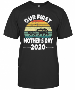 First Mothers Day Mom Baby Bear Retro Sunset New Mom T-Shirt Classic Men's T-shirt