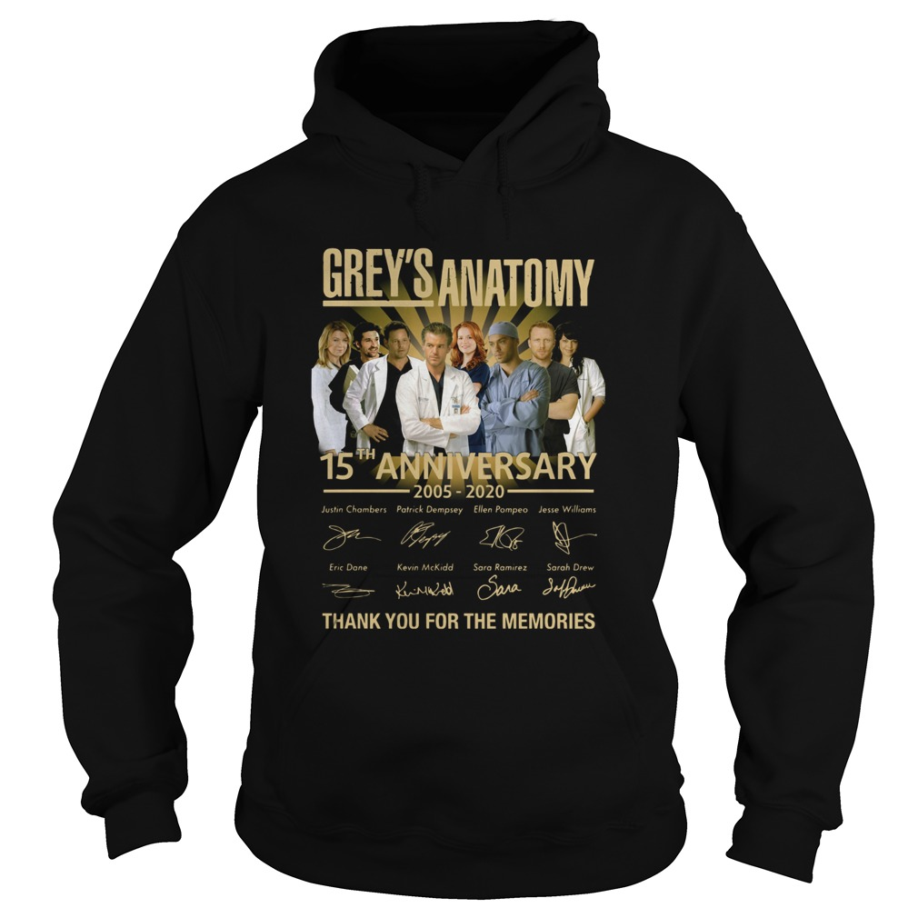 Greys Anatomy 15th Anniversary 2005 2020 Thank You For The Memories Hoodie
