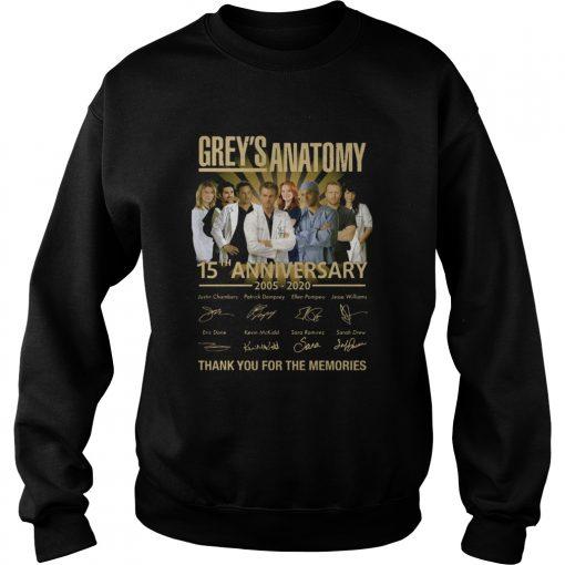 Greys Anatomy 15th Anniversary 2005 2020 Thank You For The Memories  Sweatshirt