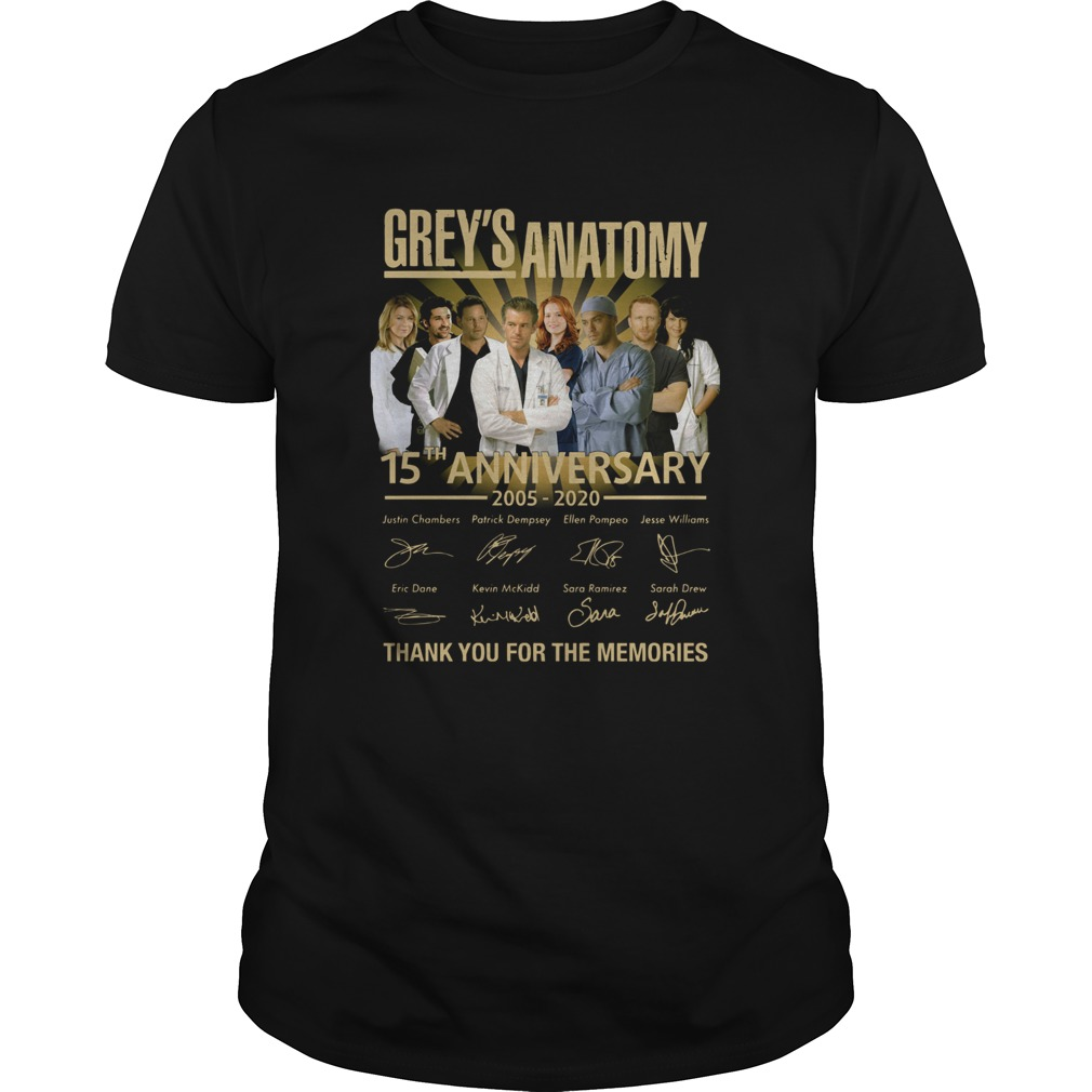 Greys Anatomy 15th Anniversary 2005 2020 Thank You For The Memories Unisex