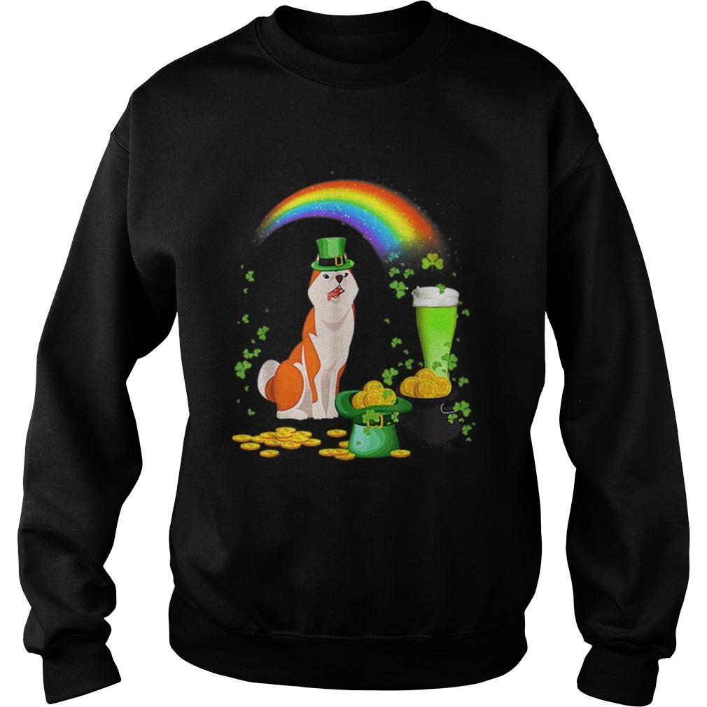Happy St Patricks Day Shiba Inu Dog Drinking Sweatshirt