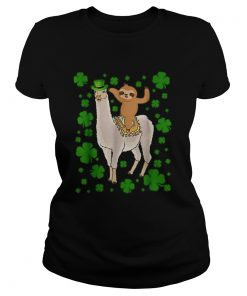 Leprechaun Sloth Riding Llama Unicorn St Patricks Day  Classic Ladies