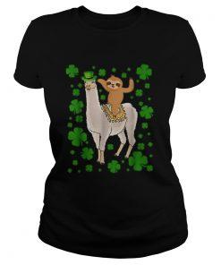 Leprechaun Sloth Riding Llama Unicorn St Patricks Day  Classic Ladies