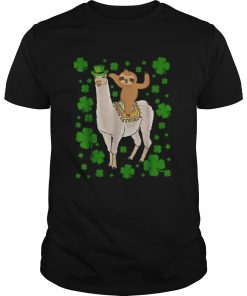 Leprechaun Sloth Riding Llama Unicorn St Patricks Day  Unisex