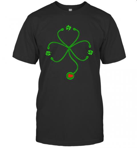 Nice Irish Nurse St Patricks Day Stethoscope Heartbeat T-Shirt Classic Men's T-shirt
