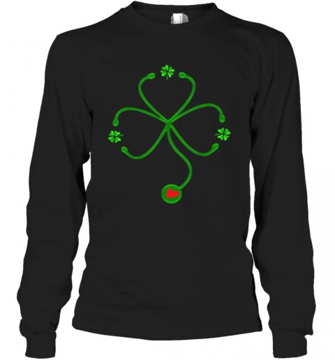 Nice Irish Nurse St Patricks Day Stethoscope Heartbeat T-Shirt Long Sleeved T-shirt