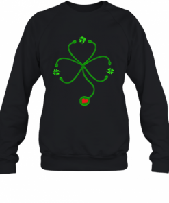 Nice Irish Nurse St Patricks Day Stethoscope Heartbeat T-Shirt Unisex Sweatshirt