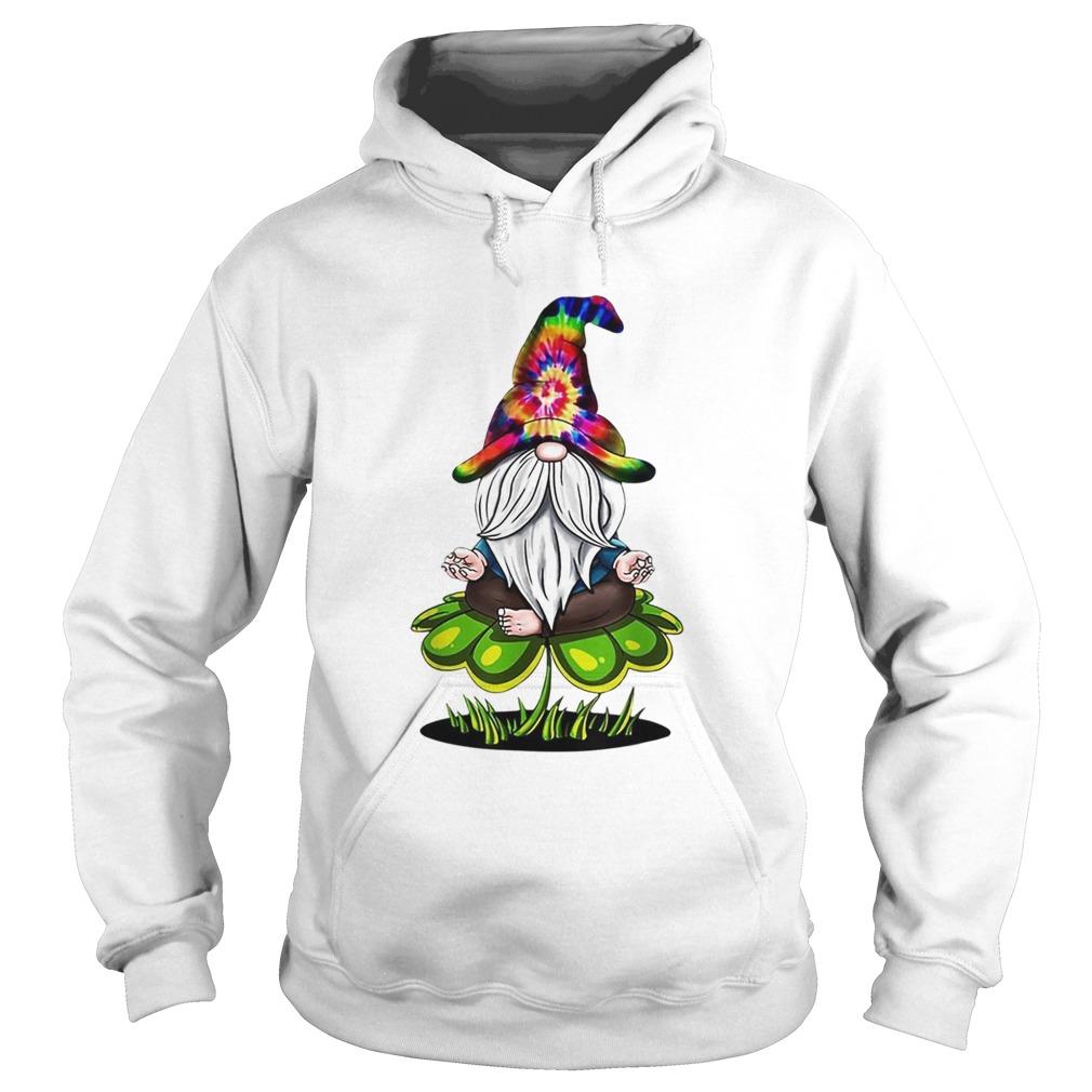 Pretty Hippie Tie Dye Gnomes Yoga St Patricks Day Shamrock Namaste Hoodie