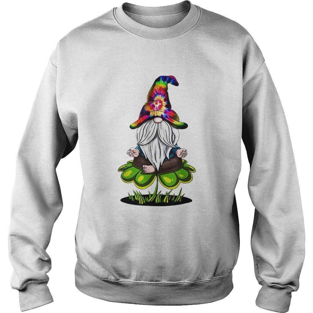 Pretty Hippie Tie Dye Gnomes Yoga St Patricks Day Shamrock Namaste Sweatshirt