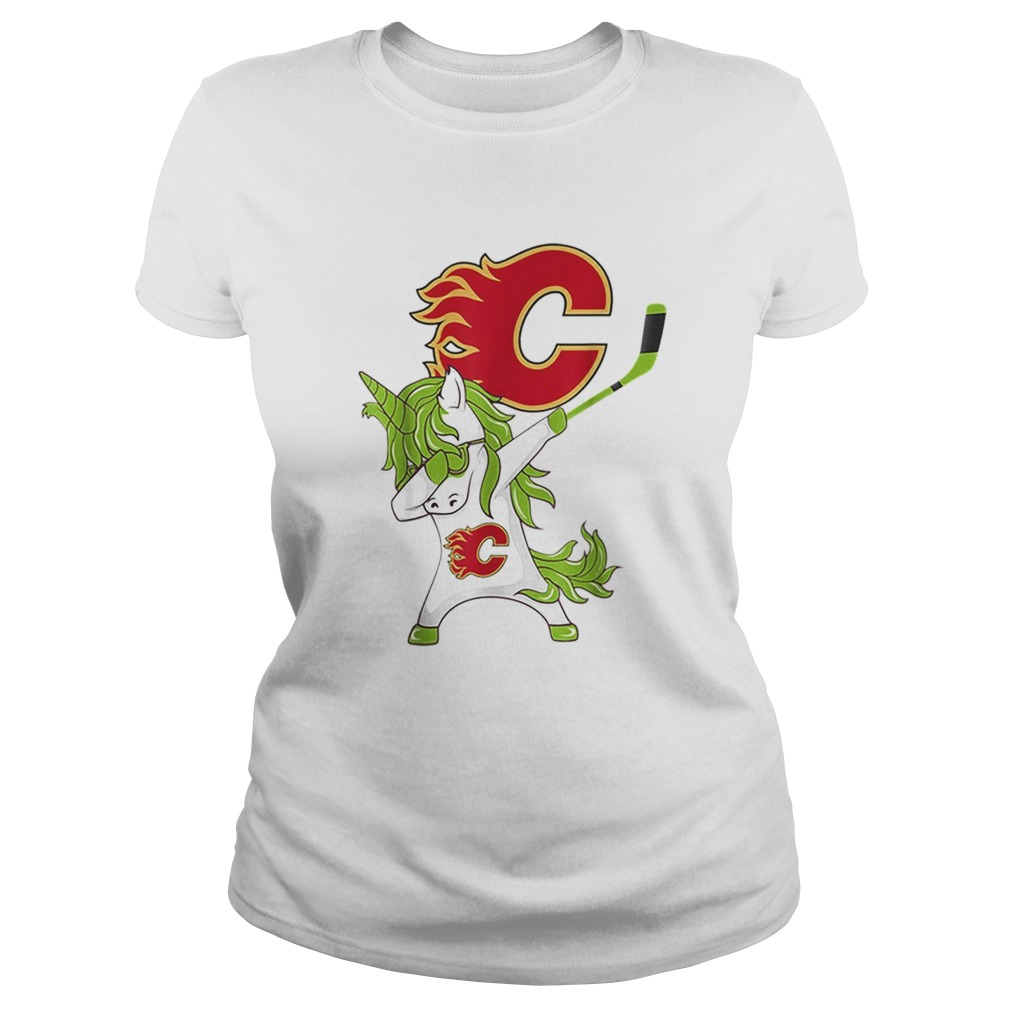 Pretty St Patrick Day Dabbing Unicorn Hockey Stick Calgaryflame Classic Ladies