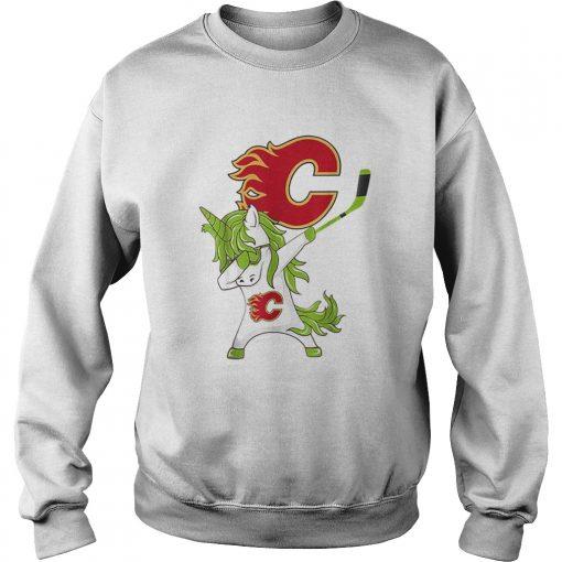 Pretty St Patrick Day Dabbing Unicorn Hockey Stick Calgaryflame  Sweatshirt