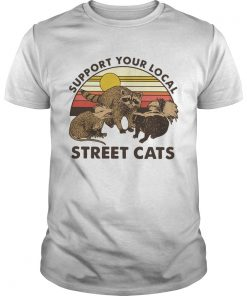 Racoon Support Your Local Street Cats Vintage  Unisex