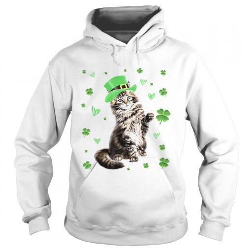 Shamrock Leprechaun Cat St Patricks Day Irish  Hoodie