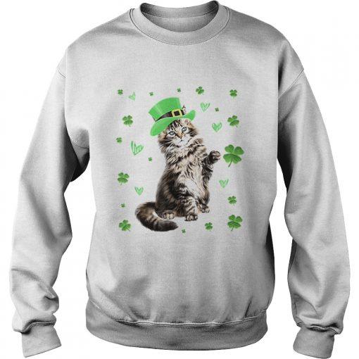 Shamrock Leprechaun Cat St Patricks Day Irish  Sweatshirt