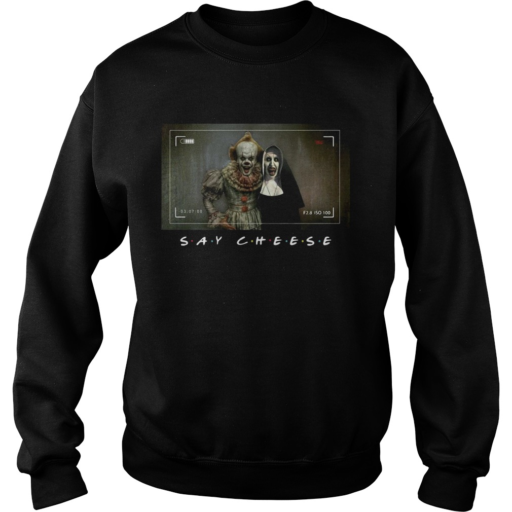 Valak And Pennywise Photo Say Cheese Friends Tv Show Sweatshirt