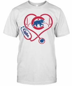 Chicago Cubs Baseball Stethoscope Heartbeat T-Shirt Classic Men's T-shirt