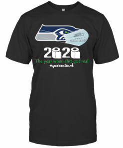 Seattle Seahawks Mask 2020 The Year When Shit Got Real Quarantined T-Shirt Classic Men's T-shirt