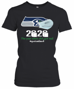 Seattle Seahawks Mask 2020 The Year When Shit Got Real Quarantined T-Shirt Classic Women's T-shirt