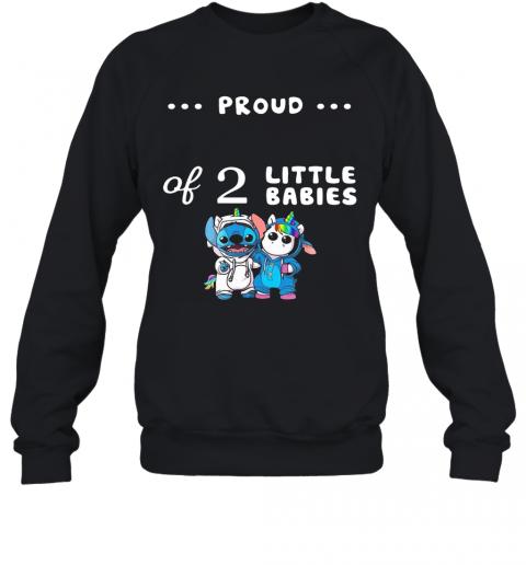 Baby Stitch And Unicorn Proud Of 2 Little Babies T-Shirt Unisex Sweatshirt