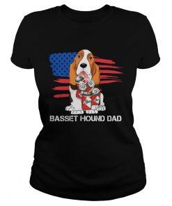 Basset hound dad American flag veteran Independence Day  Classic Ladies