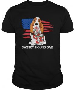 Basset hound dad American flag veteran Independence Day  Unisex